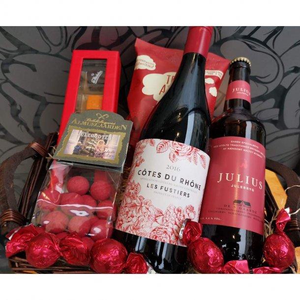 Julegavekurv m/vin,øl og specialiteter